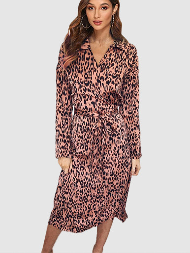 OneBling V Neck Midi Wrap Dress In Leopard with Belt