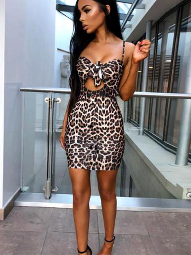 Tie Front Bodycon Mini Dress In Leopard Print