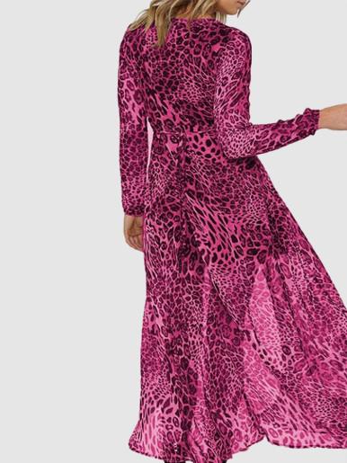 OneBling Long Sleeve Chiffon Maxi Wrap Dress In Leopard