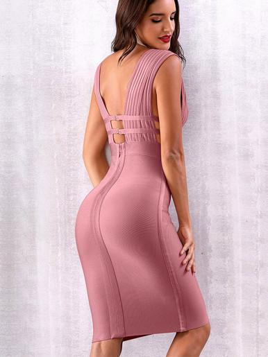 Deep Plunge Corset Detail Bodycon Midi Dress