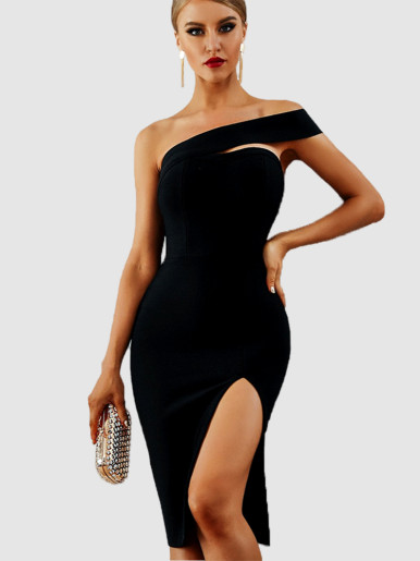 One Shoulder Midi Dress with Side Split
