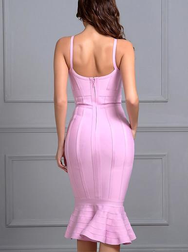 Cami Bandage Bodycon Midi Dress with Pep Hem