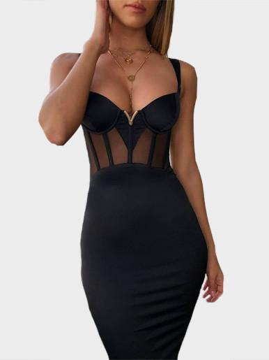 V Bra Bandage Midi Dress with Mesh Insert & Corset Detail