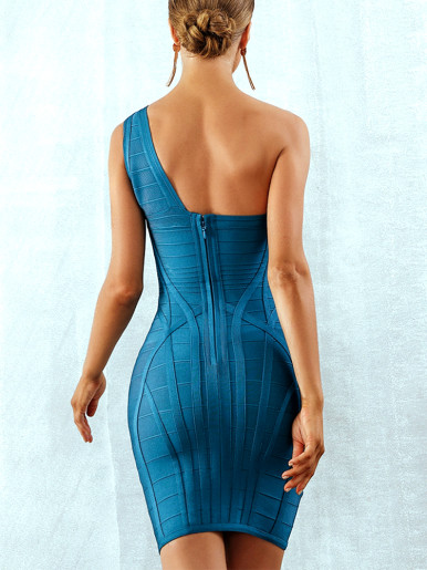 One Shoulder Bandage Bodycon Midi Dress