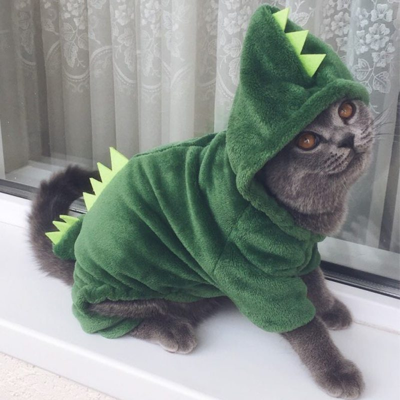 MiOYOOW Dog Clothes Pet Puppy Sweaters Winter Outfits Warm Dinosaur Pet Hoodies for Halloween Christmas Cosplay