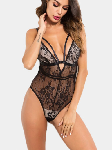 Deep V Neck Lace Bodysuit with Adjust Strap