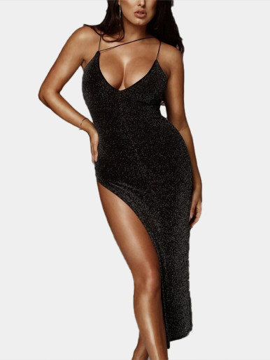 Strappy Glitter Midi Dress with High Split Side