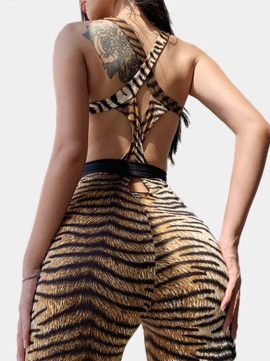 Tiger Stripes Printed Backless Cross Straps Women Jumpsuits