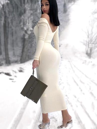 V Neck Midi Jumper Dress