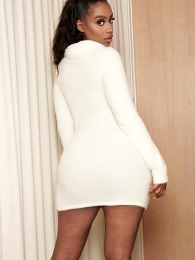 Roll Neck Long Sleeve Faux Fur Mini Dress