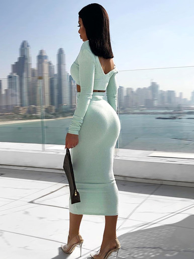 V Neck Long Sleeve Crop Top and Midi Skirt Set