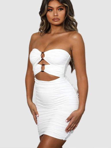 Strapless Ruched Mini Dress with O-Ring and Cut Out Detail