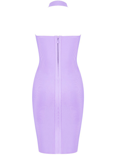 Plunge Front Halter Bodycon Mini Dress