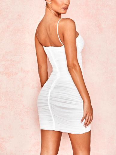 Cami Mesh Ruched Mini Dress