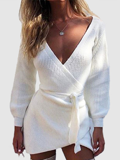 Knit Mini Dress In White with Wrap Waist and Belt