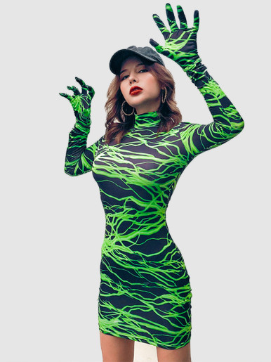 High Neck Mini Dress In Green Lightning Print with Gloves