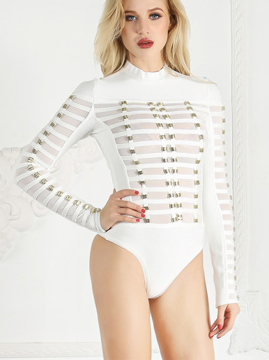 Long Sleeve Bodysuit with Mesh Panels and Linear Rivets