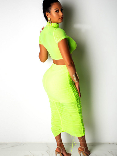 Tie Detail Crop Top and Midi Skirt Neon Green Mesh Set