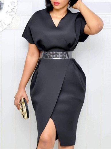 Batwing Sleeve Midi Dress with Wrap Skirt