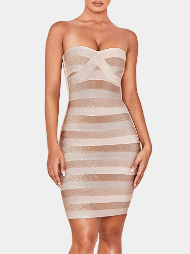 Corset Detail Strapless Mini Dress In Contrast Stripe