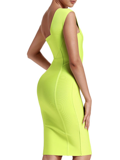 Side Zipper Bandage Bodycon One Shoulder Midi Dress