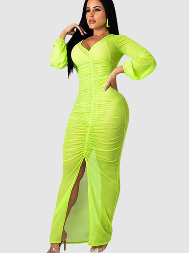 Long Sleeve Mesh Ruched Maxi Dress with Split Front