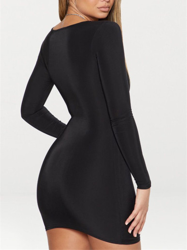 Winter Square Neck Long Sleeve Bodycon Mini Dress