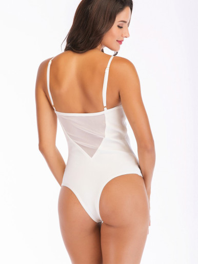 Corset Detail Bodysuit In White with Mesh Panels