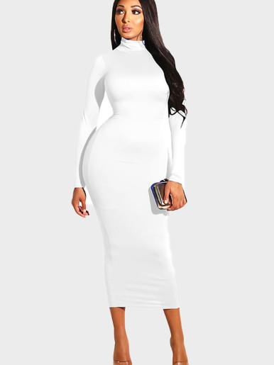 Long Sleeve High Neck Maxi Pencil Dress