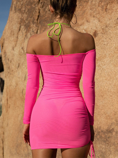 Mesh Off Shoulder Bodycon Mini Dress with Tie Side