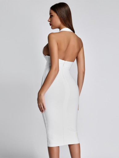 V Neck Halter Bandage Midi Dress