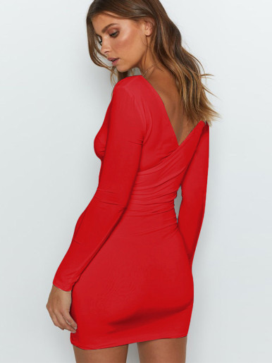 V Neck Bodycon Mini Wrap Dress with Long Sleeve