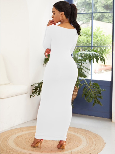 Solid Long Sleeve Maxi Dress with Crew Neck