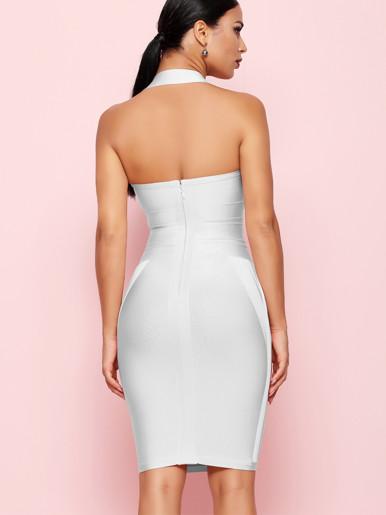 Bodycon Halter Neck Midi Dress