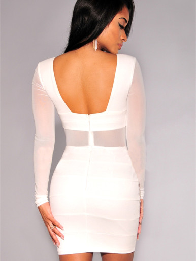 Open Back Mini Bodycon Dress with Mesh Sleeves