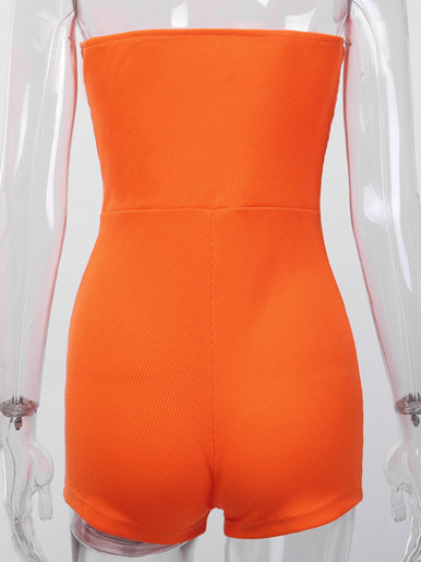 Zipper Corset Detail Strapless Playsuits In Neon Orange