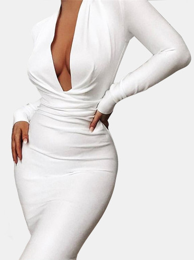 Deep Plunge Bodycon Midi Dress with Long Sleeve