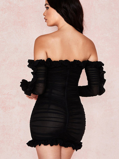 Sheer Mesh Off Shoulder Mini Frill Hem Dress In Black with Lace Up Detail