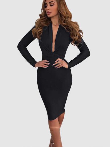 Long Sleeve Plunge Wrap Mini Dress