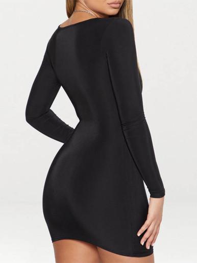 Long Sleeve Square Neck Mini Dress