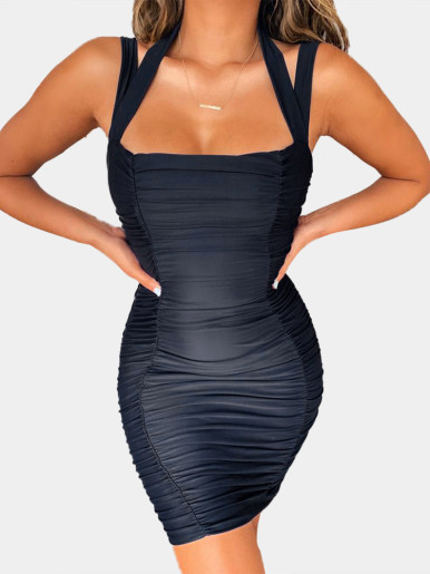 Strappy Bodycon Mini Ruched Dress with Open Back