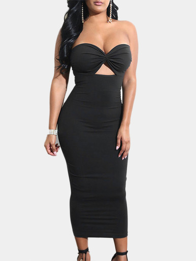 Bandeau Midi Dress with Sweetheart Neckline and Cut Out Detail