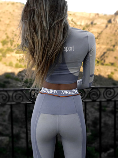 Sport Cropped Tee and Legging with Orange Belt