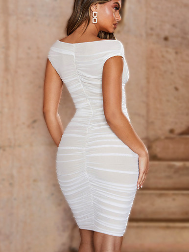 Off Shoulder Sweetheart Mesh Ruched Midi Dress