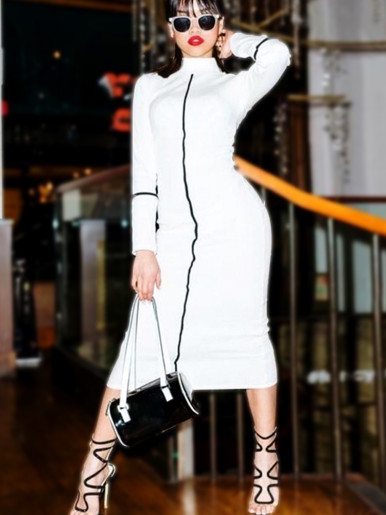 Long Sleeve High Neck Midi Dress with White Tape