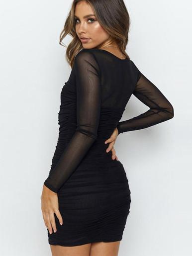 Square Neck Mesh Ruched Bodycon Mini Dress In Black