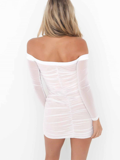 Off Shoulder Ruched Bodycon Mesh Mini Dress with Tassel Tie