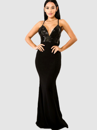 Plunge Fishtail Maxi Dress with Sequins embellished Bodice