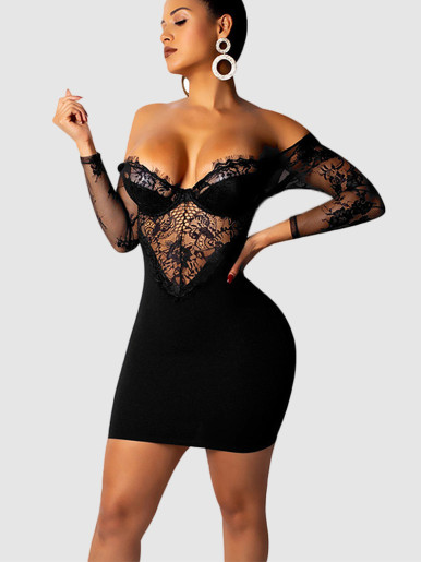 Open Back Bodycon Mini Dress with Sweetheart Neckline and Lace Sleeve