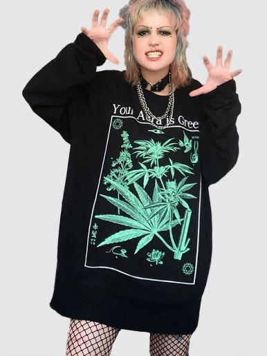 Drop Shoulder Graphic Sweatshirt In Black